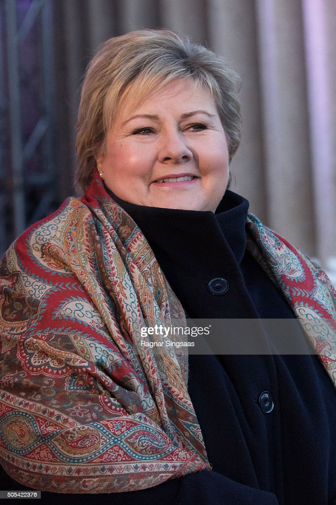 Prime Minister of Norway Erna Solberg attends the 25th anniversary of King Harald V and Queen Sonja of Norway as monarchs on January 17, 2016 in Oslo, Norway.