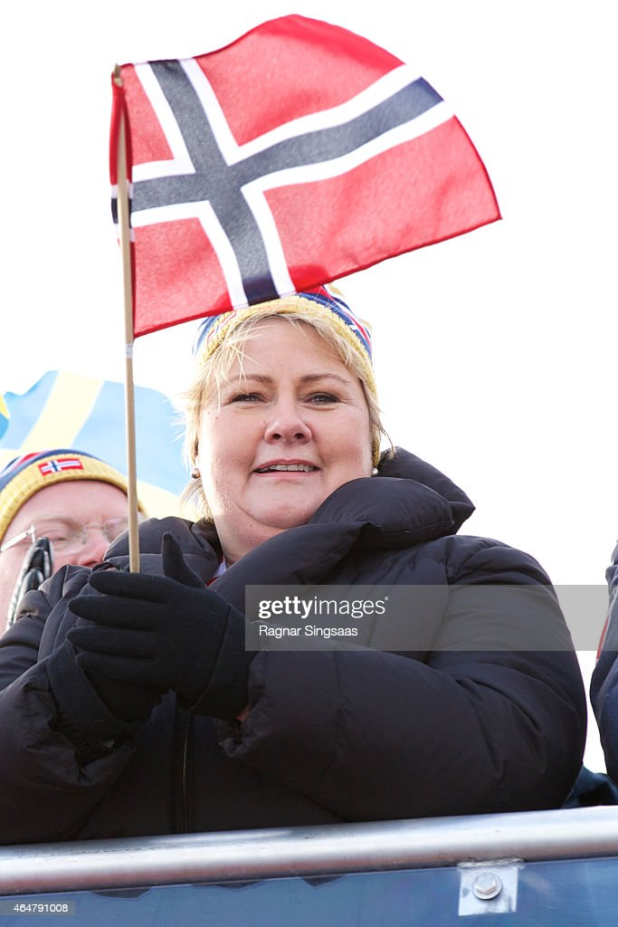 Prime Minister of Norway <a gi-track='captionPersonalityLinkClicked' href=/galleries/search?phrase=Erna+Solberg&family=editorial&specificpeople=6165203 ng-click='$event.stopPropagation()'>Erna Solberg</a> attends the FIS Nordic World Ski Championships on February 28, 2015 in Falun, Sweden.