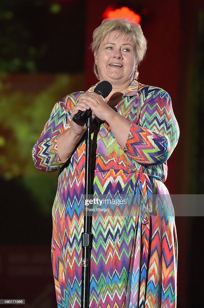 Prime Minister of Norway, <a gi-track='captionPersonalityLinkClicked' href=/galleries/search?phrase=Erna+Solberg&family=editorial&specificpeople=6165203 ng-click='$event.stopPropagation()'>Erna Solberg</a>, speaks on stage at the 2015 Global Citizen Festival to end extreme poverty by 2030 in Central Park on September 26, 2015 in New York City.