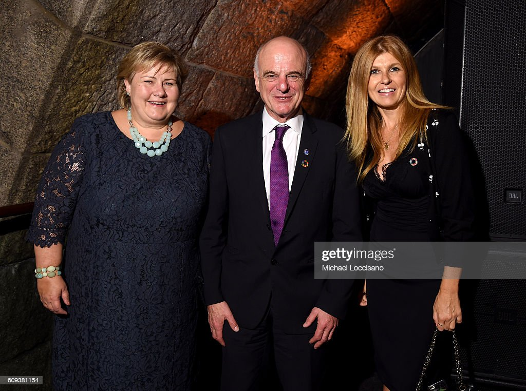 Prime Minister of Norway, Erna Solberg, UN Special Advisor on the 2030 Agenda for Sustainable Development, David Nabarro and Connie Britton attend 2016 Global Goals Awards Dinner at Gustavino's on September 20, 2016 in New York City.