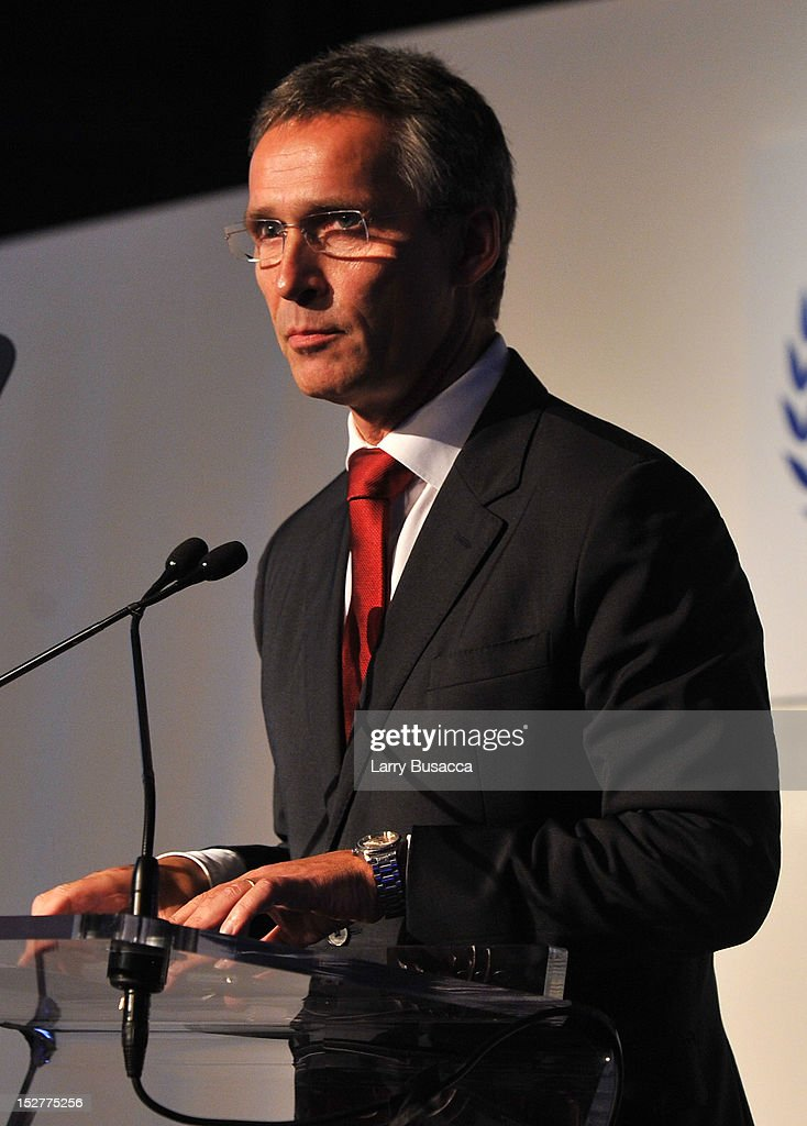 Prime Minister of Norway <a gi-track='captionPersonalityLinkClicked' href=/galleries/search?phrase=Jens+Stoltenberg&family=editorial&specificpeople=558620 ng-click='$event.stopPropagation()'>Jens Stoltenberg</a> speaks onstage at the United Nations Every Woman Every Child Dinner 2012 on September 25, 2012 in New York, United States.