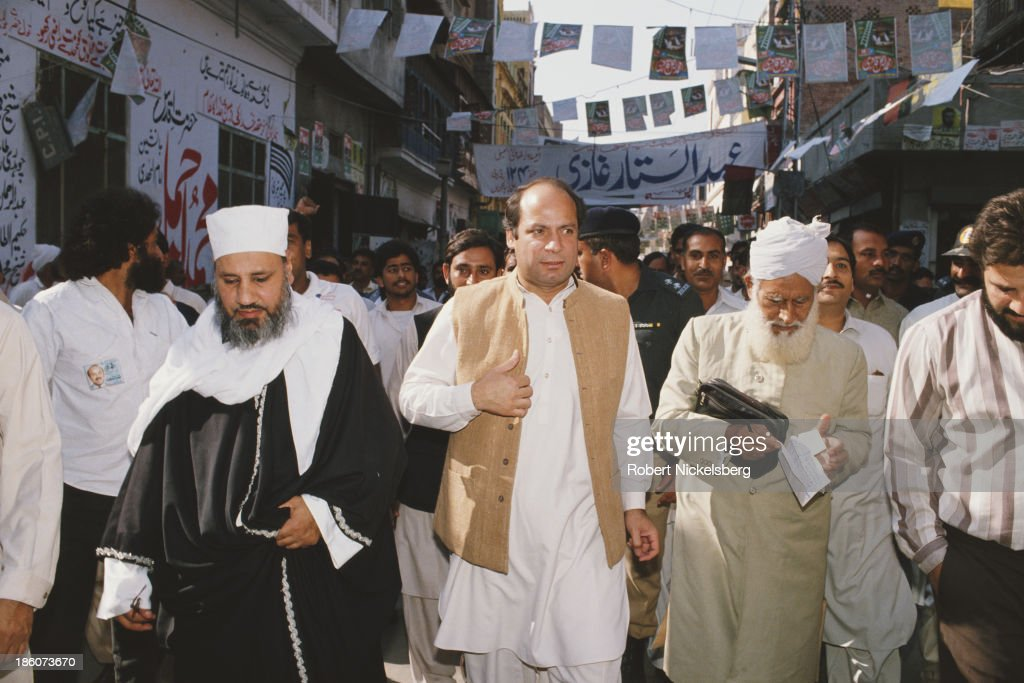 Prime Minister of Pakistan <a gi-track='captionPersonalityLinkClicked' href=/galleries/search?phrase=Nawaz+Sharif&family=editorial&specificpeople=217726 ng-click='$event.stopPropagation()'>Nawaz Sharif</a> in a street in Pakistan, circa 1990.