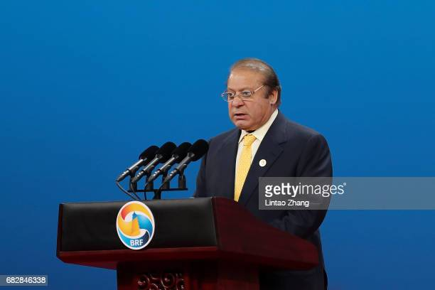 Prime Minister of Pakistan Nawaz Sharif speaks during the Belt and Road Forum for International Cooperation on May 14 2017 in Beijing China