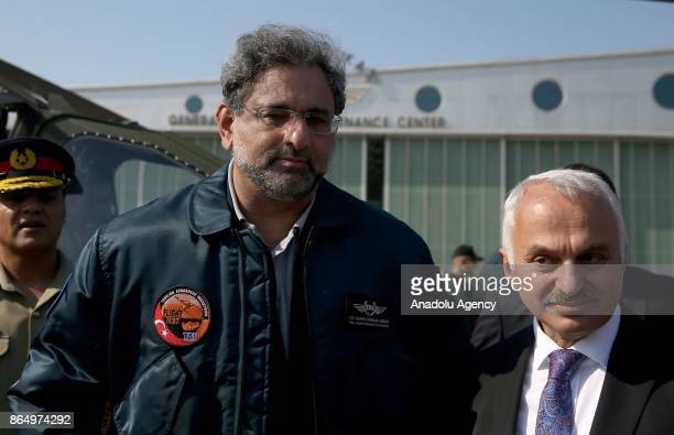 Prime Minister of Pakistan Shahid Khaqan Abbasi accompanied by General Manager of TAITurkish Aerospace Industries Inc Temel Kotil arrives to attend...