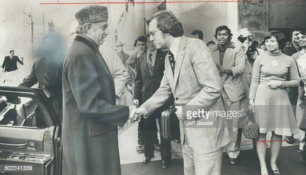 Prime minister of Pakistan Zulfikar Ali Bhutto is greeted by Toronto's acting mayor Alderman Art Eggleton as he arrives yesterday for a oneday visit...