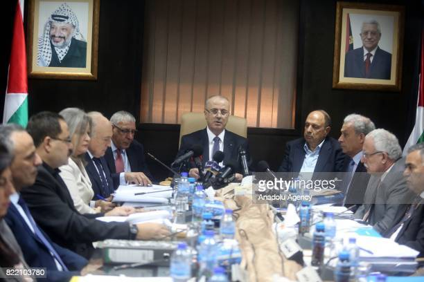 Prime Minister of Palestine Rami Hamdallah delivers a speech during a meeting in alRamm town of northeast Jerusalem on July 25 2017 Palestinian...