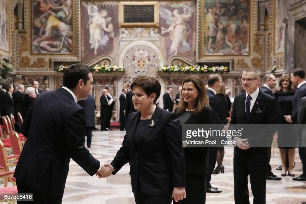 Prime Minister of Poland Beata Szyda greets former greek Prime Minister Alexis Tsipras during a meeting between Pope Francis with European Leaders at...