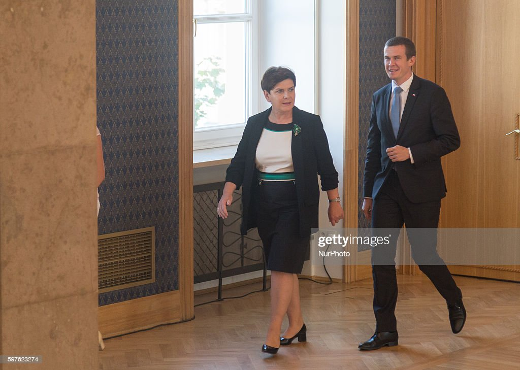 Prime Minister of Poland Beata Szydlo and Polish minister of sport and tourism Witold Banka met with Olympic medalists from Rio in Warsaw Poland on...