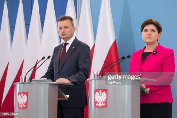 Prime Minister of Poland Beata Szydlo and Polish Minister of the Interior and Administration Mariusz Blaszczak during the press conference about...