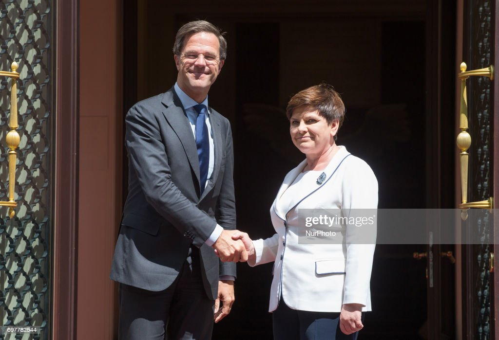 Prime Minister of Poland Beata Szydlo and Prime Minister of the Netherlands Mark Rutte during the Meeting of Heads of Government of Visegrad Group countries and Benelux countries in Warsaw, Poland on 19 June 2017