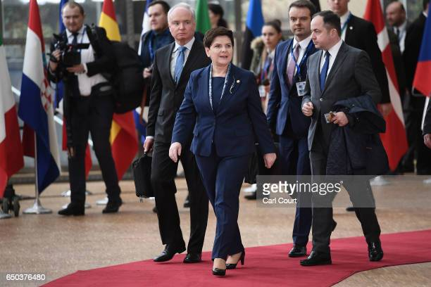 Prime Minister of Poland Beata Szydlo arrives at the Council of the European Union on the first day of an EU summit on March 9 2017 in Brussels...