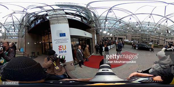 Prime Minister of Poland Beata Szydlo arrives for The European Council Meeting In Brussels held at the Justus Lipsius Building on March 7 2016 in...
