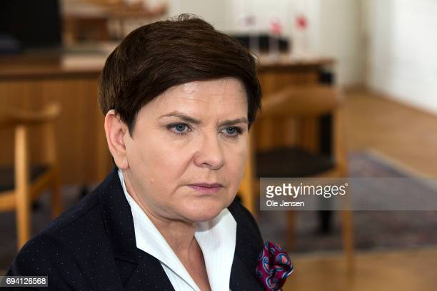 Prime Minister of Poland Beata Szydlo as seen during a meeting with Prime Minister Lars Loekke Rasmussen in the Danish Prime Minister's Office at...
