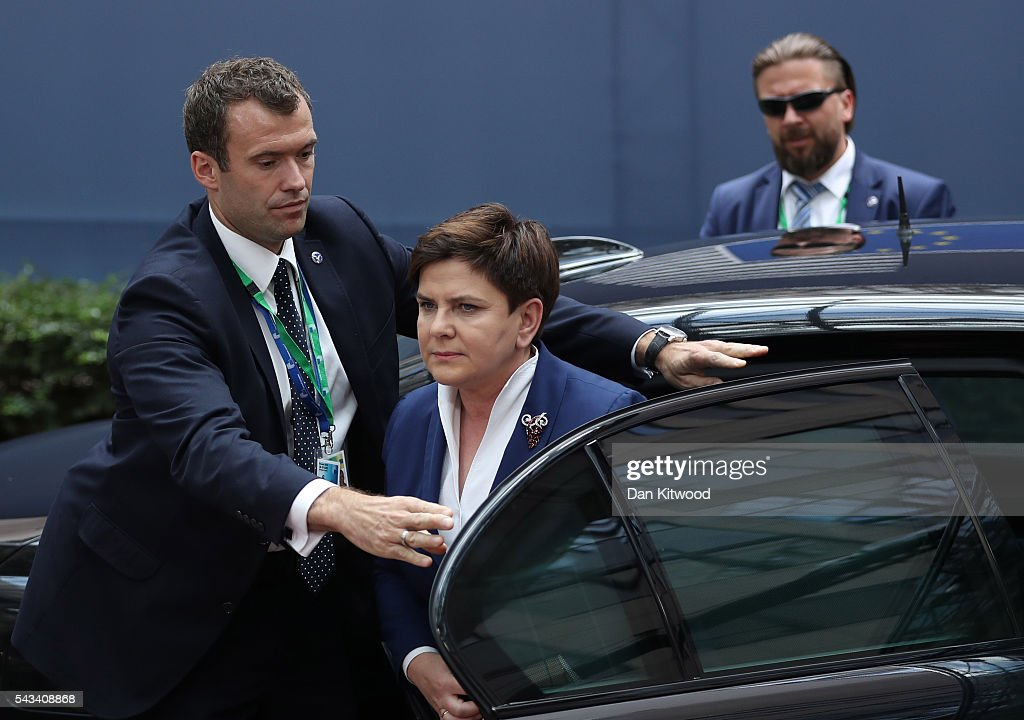 Prime Minister of Poland, Beata Szydlo (C) attends a European Council Meeting at the Council of the European Union on June 28, 2016 in Brussels, Belgium. British Prime Minister David Cameron will hold talks with other EU leaders in what will likely be his final scheduled meeting with the full European Council before he stands down as Prime Minister. The meetings come at a time of economic and political uncertainty following the referendum result last week which saw the UK vote to leave the European Union.