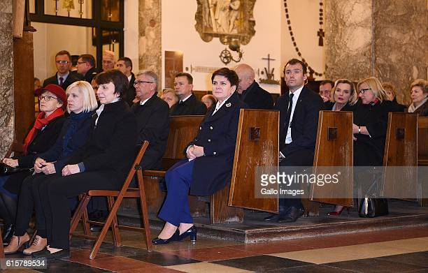 Prime Minister of Poland Beata Szydlo attends the celebration of the 32nd anniversary of the death of blessed Jerzy Popieluszko on October 19 2016 in...