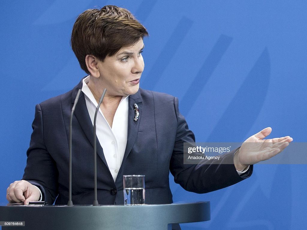 Prime Minister of Poland Beata Szydlo delivers a speech during a joint press conference after their meeting at German Chancellery in Berlin, Germany on February 12, 2016.