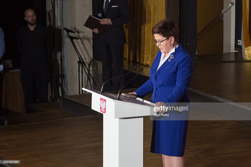 Prime Minister of Poland, Beata Szydlo during the Anniversary of the establishment of the Workers Defence Committee at Hotel Sofitel Victoria on 26 June 2016 in Warsaw, Poland