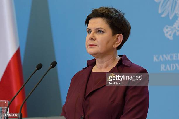 Prime Minister of Poland Beata Szydlo during the press conference at Chancellery of the Prime Minister in Warsaw Poland on 25 October 2016