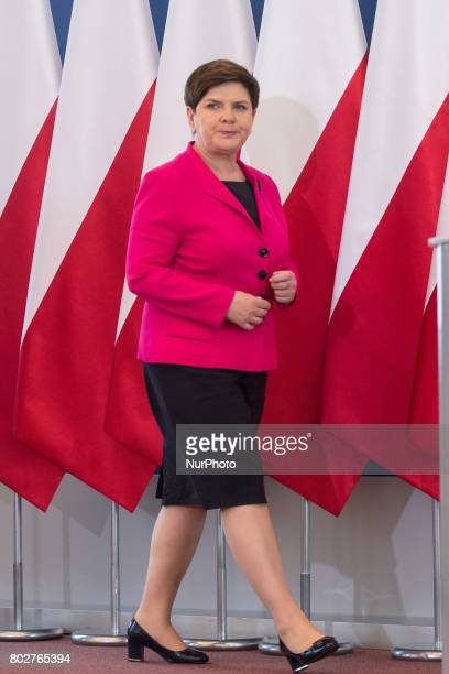 Prime Minister of Poland Beata Szydlo during the press conference about ransomware Petya cyberattack in Poland at Chancellery of the Prime Minister...