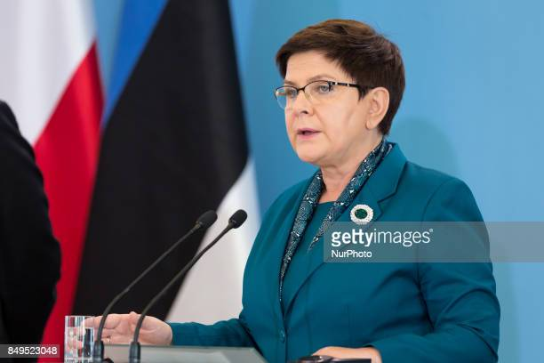 Prime Minister of Poland Beata Szydlo during the press conference after meeting with Prime Minister of Estonia Juri Ratas at Chancellery of the Prime...