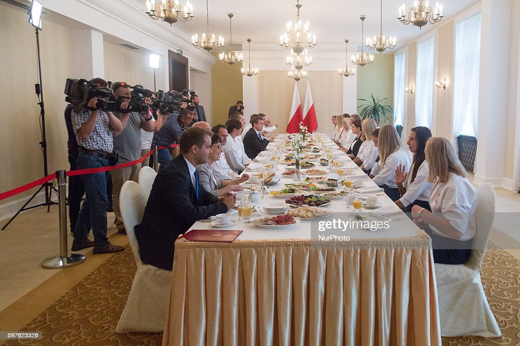Prime Minister of Poland Beata Szydlo met with Olympic medalists from Rio in Warsaw Poland on 29 August 2016