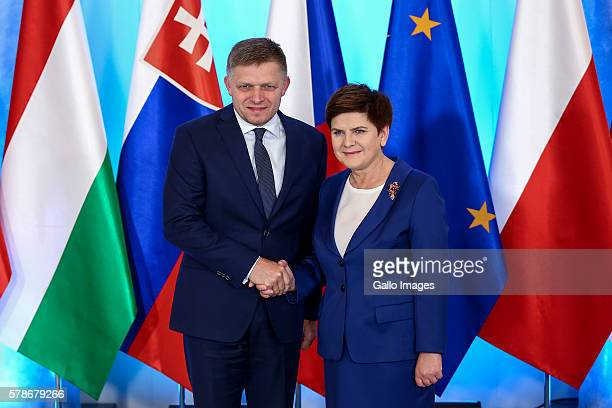 Prime Minister of Poland Beata Szydlo Prime Minister of Slovakia Robert Fico attend the meeting of The Visegrad Group on July 21 2016 in Warsaw...