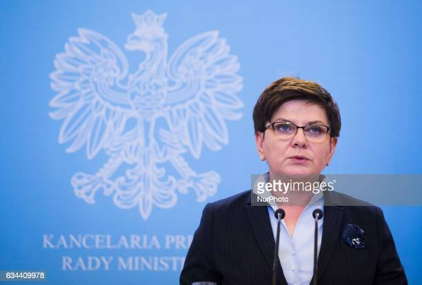 Prime Minister of Poland Beata Szydlo speaks during media press with the Prime Minister of Ireland Enda Kenny on February 09 2017 in Warsaw Poland...