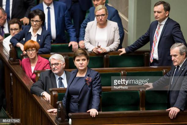 Prime Minister of Poland Beata Szydlo with ministers at Polish Parliament in Warsaw Poland on 31 May 2017