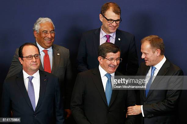 Prime Minister of Portugal Antonio Costa and Prime minister of Finland Juha Sipila and President of France Francois Hollande Turkish Prime Minister...
