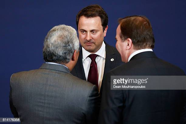 Prime Minister of Portugal Antonio Costa Prime Minister of Luxembourg Xavier Bettel and Prime Minister of Sweden Stefan Lofven speak at the family...