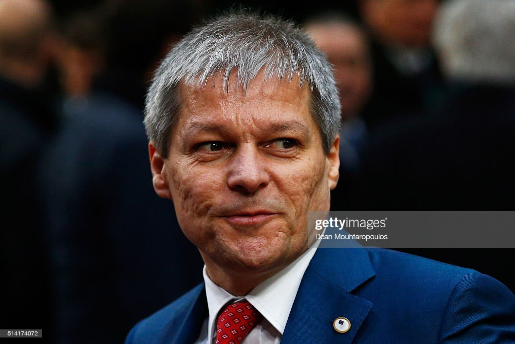Prime Minister of Romania, Dacian Ciolos arrives for The European Council Meeting In Brussels held at the Justus Lipsius Building on March 7, 2016 in Brussels, Belgium. EU leaders are meeting with Turkish Prime Minister Ahmet Davutoglu in Brussels, to discuss the worst refugee crisis since the Second World War, as thousands of migrants remain stranded in Greece after borders along the Balkan route to Germany are closed.