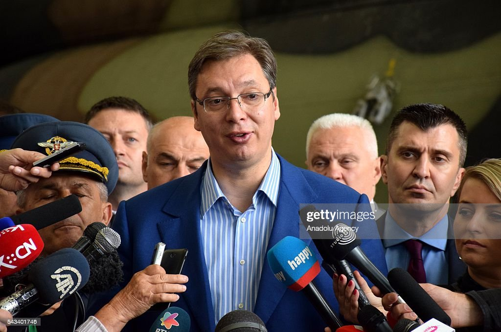 Prime Minister of Serbia Aleksandar Vucic delivers a speech during the ceremony of 2 transport helicopter which Serbia bought from Russia, at Nikola Tesla Airport in Belgrade, Serbia on June 28, 2016.