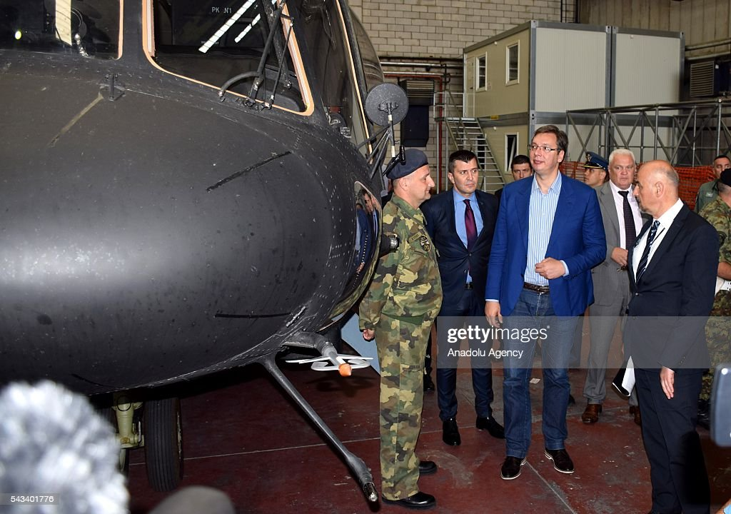 Prime Minister of Serbia Aleksandar Vucic inspect helicopters during the ceremony of 2 transport helicopter which Serbia bought from Russia, at Nikola Tesla Airport in Belgrade, Serbia on June 28, 2016.