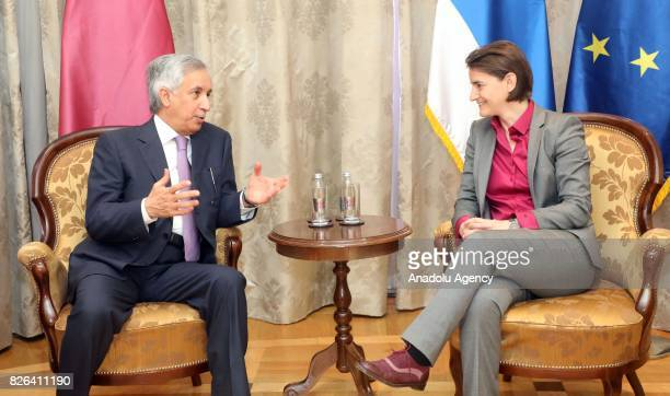 Prime Minister of Serbia Ana Brnabic meets Qatar's State Minister for Foreign Affairs Sultan bin Saad Al Muraikhi in Belgrade Serbia on August 4 2017