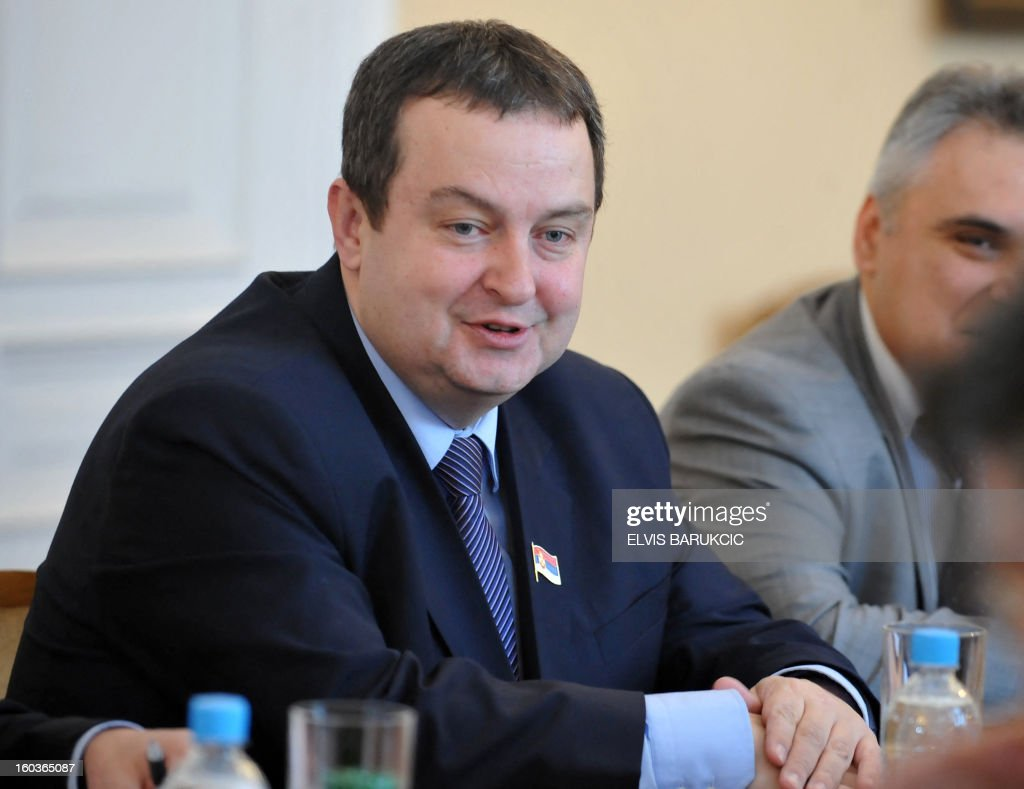 Prime Minister of Serbia, Ivica Dacic sits during a bi-lateral meeting with Chairman of Bosnia's tripartite Presidency, Nebojsa Radmanovic, in Sarajevo, on January 30, 2013. AFP PHOTO ELVIS BARUKCIC BARUKCIC