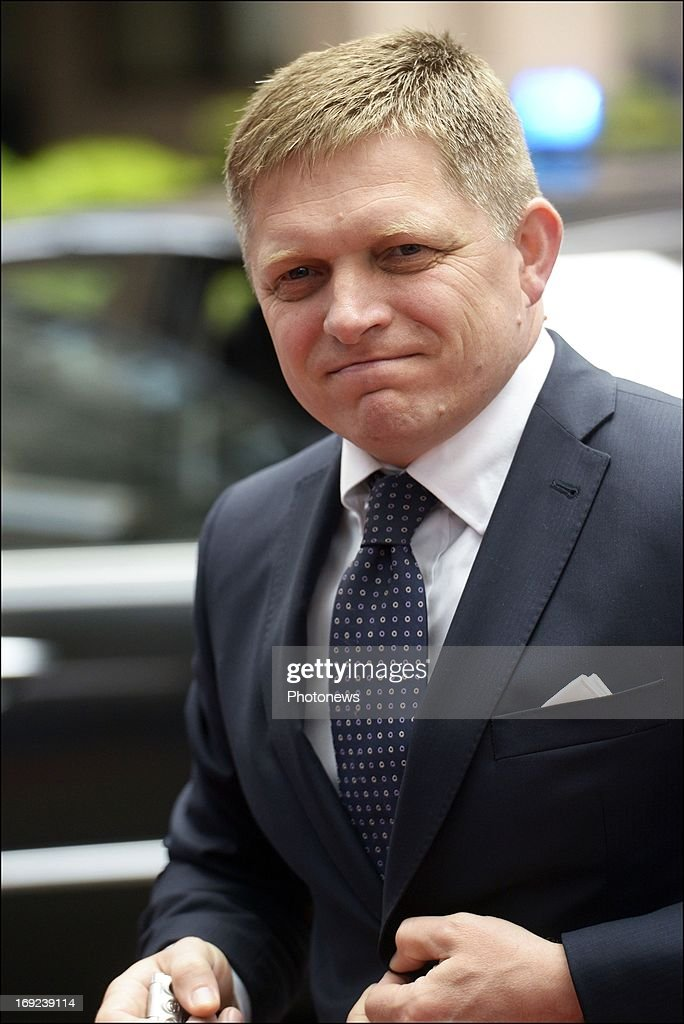 Prime Minister of Slovakia <a gi-track='captionPersonalityLinkClicked' href=/galleries/search?phrase=Robert+Fico&family=editorial&specificpeople=555594 ng-click='$event.stopPropagation()'>Robert Fico</a> arrives at the European Summit on May 22, 2013 in Brussels, Belgium. European leaders are meeting in Brussels to discuss ways of tackling tax evasion and avoidance, which costs the EU an estimated 1 trillion Euros a year.