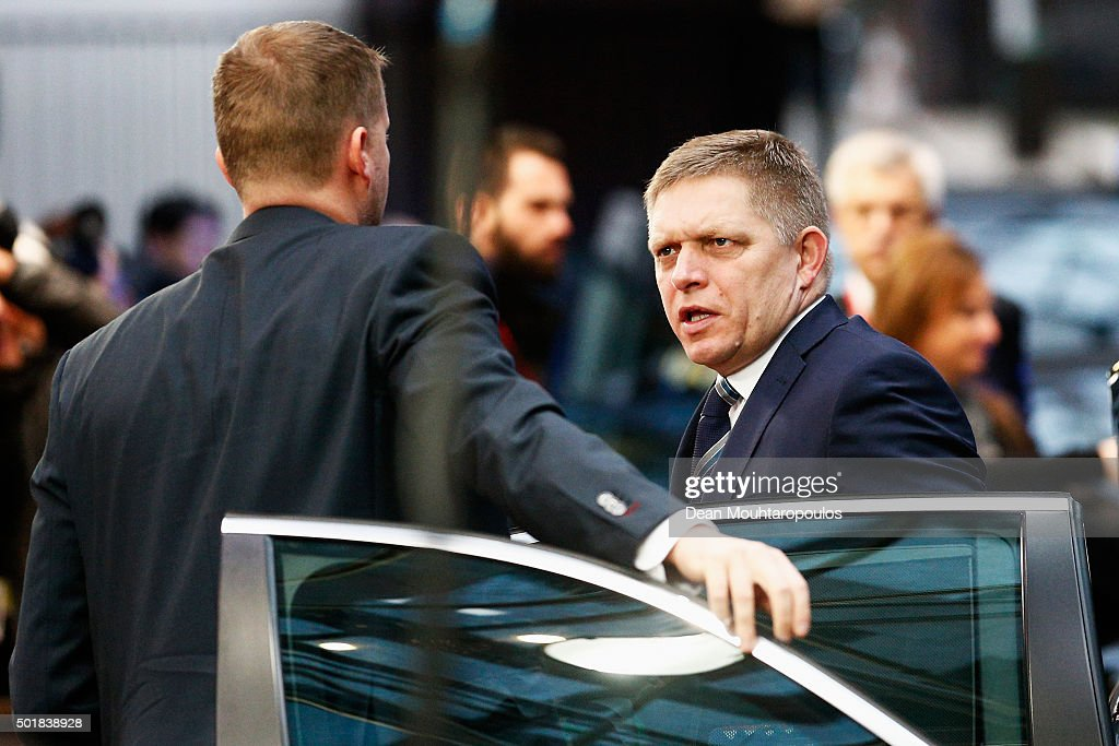 Prime minister of Slovakia, <a gi-track='captionPersonalityLinkClicked' href=/galleries/search?phrase=Robert+Fico&family=editorial&specificpeople=555594 ng-click='$event.stopPropagation()'>Robert Fico</a> arrives for The European Council Meeting In Brussels held at the Justus Lipsius Building on December 18, 2015 in Brussels, Belgium. European leaders are meeting to discuss David Camerons proposed EU reforms, as well as focussing on the migrant crisis, the fight against terrorism and climate change.