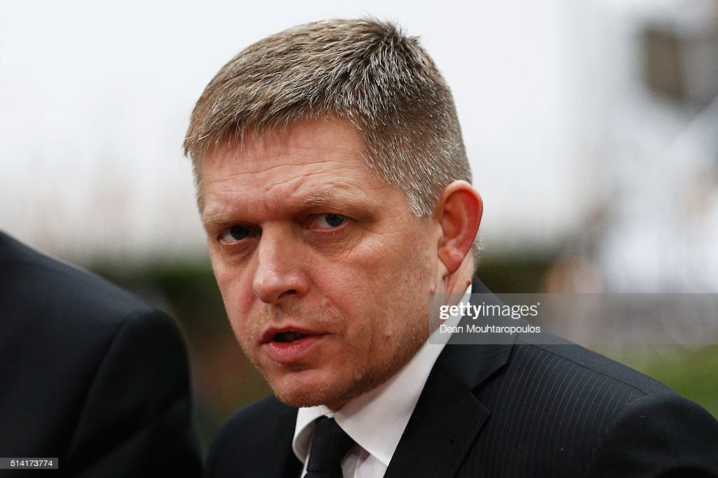 Prime minister of Slovakia, <a gi-track='captionPersonalityLinkClicked' href=/galleries/search?phrase=Robert+Fico&family=editorial&specificpeople=555594 ng-click='$event.stopPropagation()'>Robert Fico</a> arrives for The European Council Meeting In Brussels held at the Justus Lipsius Building on March 7, 2016 in Brussels, Belgium. EU leaders are meeting with Turkish Prime Minister Ahmet Davutoglu in Brussels, to discuss the worst refugee crisis since the Second World War, as thousands of migrants remain stranded in Greece after borders along the Balkan route to Germany are closed.