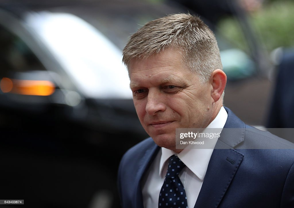 Prime Minister of Slovakia <a gi-track='captionPersonalityLinkClicked' href=/galleries/search?phrase=Robert+Fico&family=editorial&specificpeople=555594 ng-click='$event.stopPropagation()'>Robert Fico</a> attends a European Council Meeting at the Council of the European Union on June 28, 2016 in Brussels, Belgium. British Prime Minister David Cameron will hold talks with other EU leaders in what will likely be his final scheduled meeting with the full European Council before he stands down as Prime Minister. The meetings come at a time of economic and political uncertainty following the referendum result last week which saw the UK vote to leave the European Union.