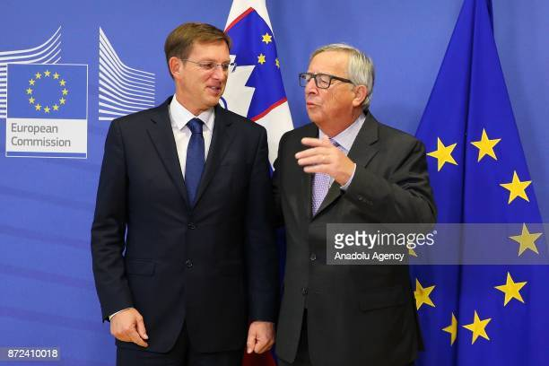 Prime Minister of Slovenia Miro Cerar meets with President of the European Commission Jean Claude Juncker in Brussels Belgium on November 10 2017