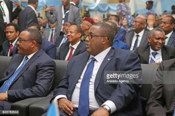 Prime Minister of Somalia Omar Abdirashid Ali Sharmarke and Prime Minister of Ethiopia Hailemariam Desalegn attend Somalia's new President Mohamed...