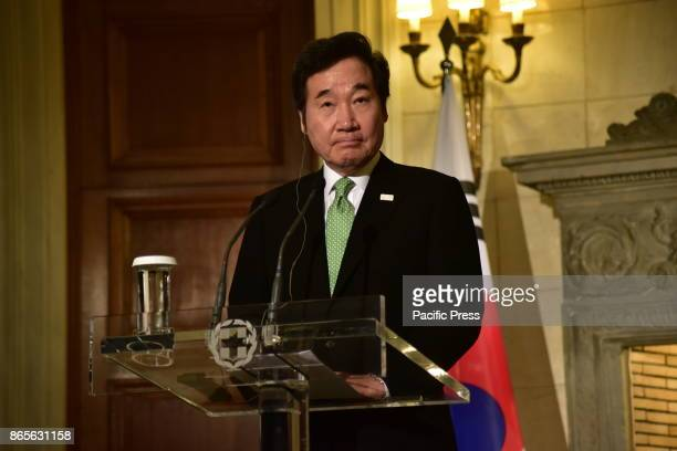 MANSION ATHENS ATTIKI GREECE Prime Minister of South Korea Lee Nak Yon during the press conference with Greek Prime Minister Alexis Tsipras