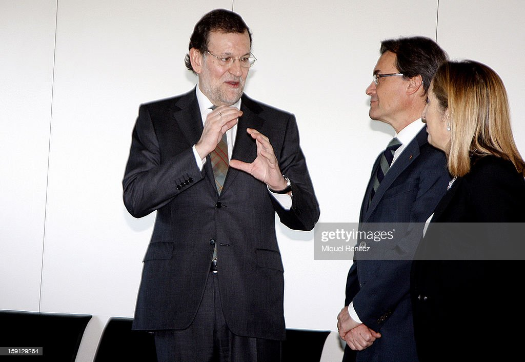 Prime Minister of Spain Mariano Rajoy and President of Catalonia Artur Mas at Barcelona Sants train station during the inauguration of the AVE high-speed train line between Barcelona and the French border on January 8, 2013 in Barcelona, Spain.