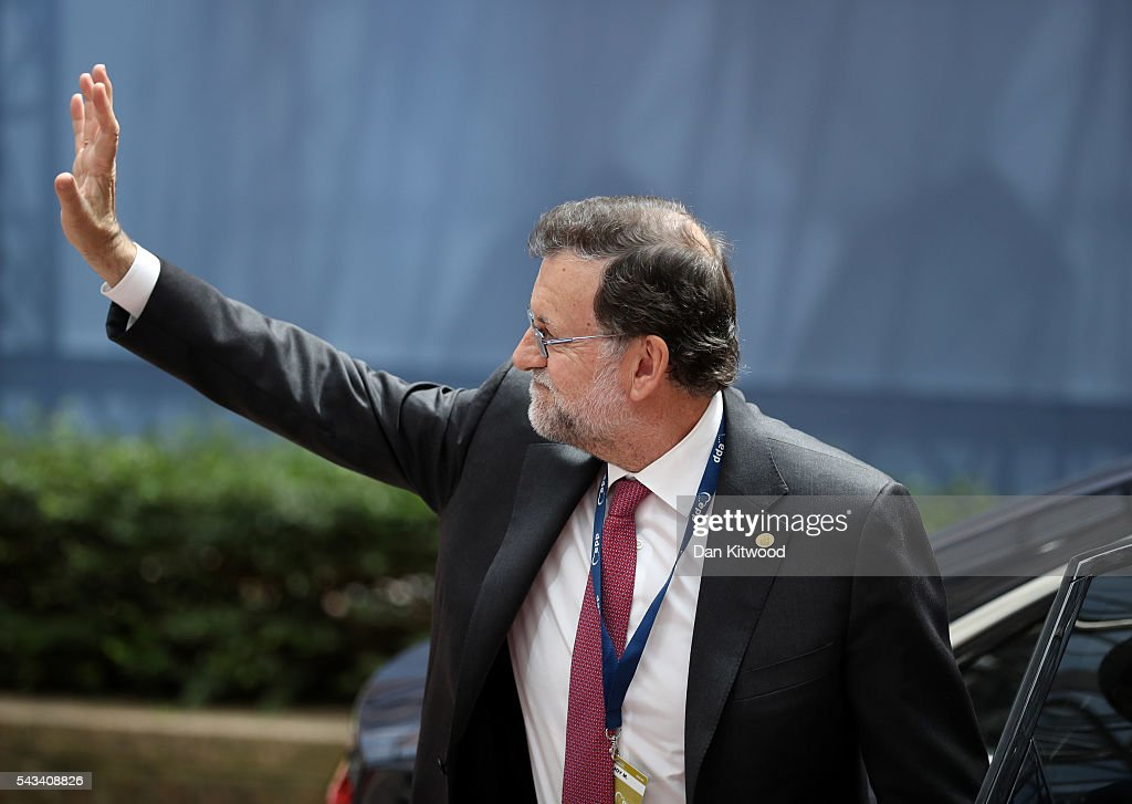 Prime Minister of Spain, Mariano Rajoy attends a European Council Meeting at the Council of the European Union on June 28, 2016 in Brussels, Belgium. British Prime Minister David Cameron will hold talks with other EU leaders in what will likely be his final scheduled meeting with the full European Council before he stands down as Prime Minister. The meetings come at a time of economic and political uncertainty following the referendum result last week which saw the UK vote to leave the European Union.