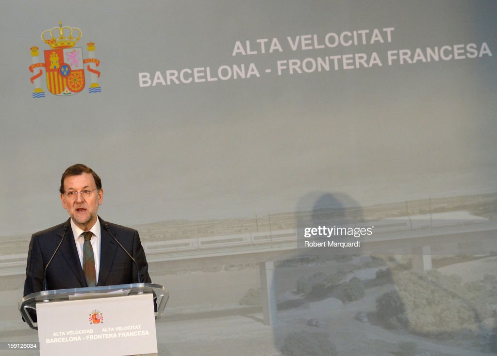Prime Minister of Spain Mariano Rajoy attends a press presentation at the Girona train station for the inauguration of the AVE high-speed train line between Barcelona and the French border on January 8, 2013 in Barcelona, Spain.