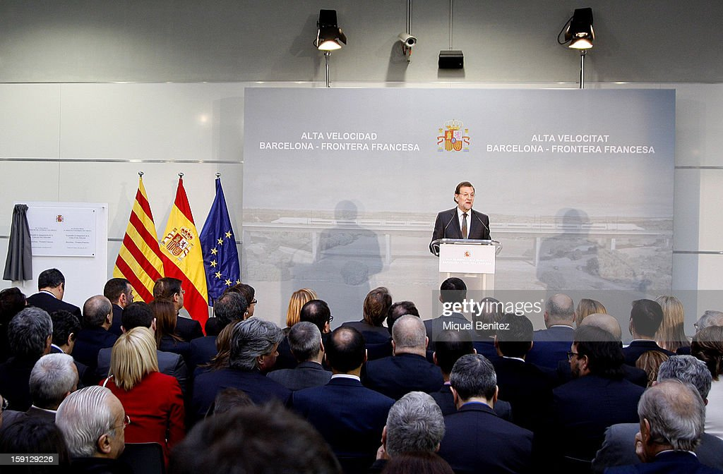 Prime Minister of Spain Mariano Rajoy attends a press presentation at Girona train station during the inauguration of the AVE high-speed train line between Barcelona and the French border on January 8, 2013 in Barcelona, Spain.