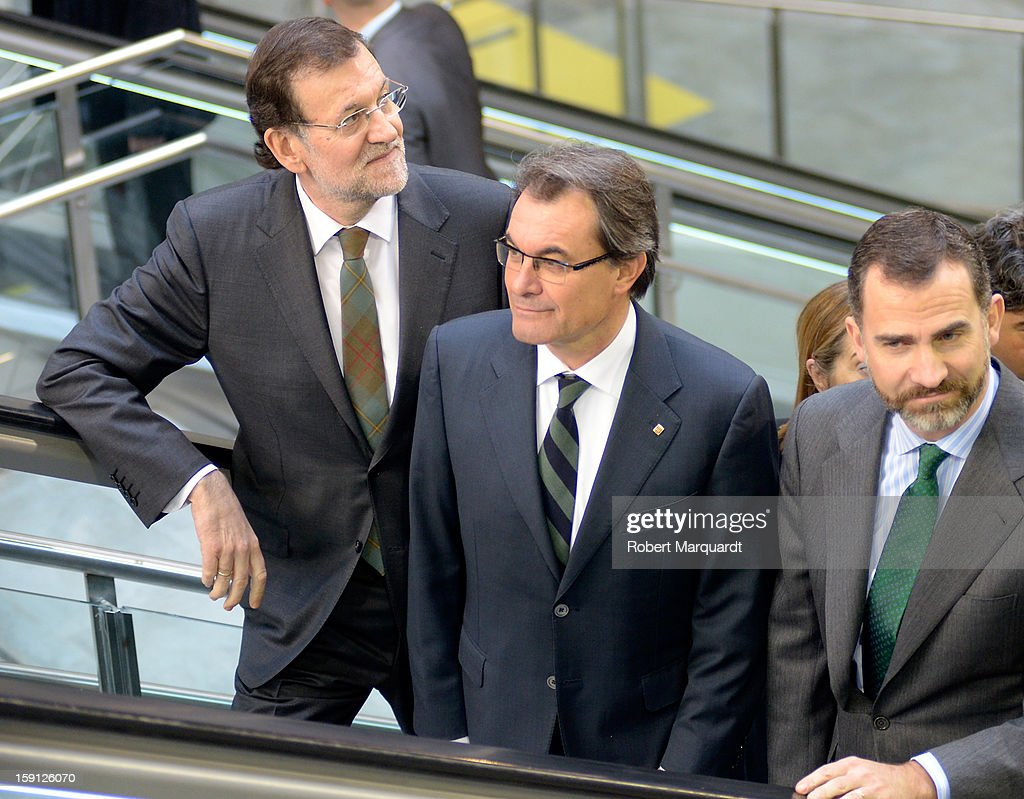 Prime Minister of Spain Mariano Rajoy, President of Catalunya Artur Mas and Prince Felipe of Spain attend a press presentation at the Girona train station for the inauguration of the AVE high-speed train line between Barcelona and the French border on January 8, 2013 in Barcelona, Spain.
