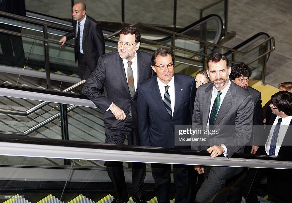 Prime Minister of Spain Mariano Rajoy, President of Catalunya <a gi-track='captionPersonalityLinkClicked' href=/galleries/search?phrase=Artur+Mas&family=editorial&specificpeople=712829 ng-click='$event.stopPropagation()'>Artur Mas</a> and Prince Felipe of Spain attend a press presentation at Girona train station during the inauguration of the AVE high-speed train line between Barcelona and the French border on January 8, 2013 in Barcelona, Spain.