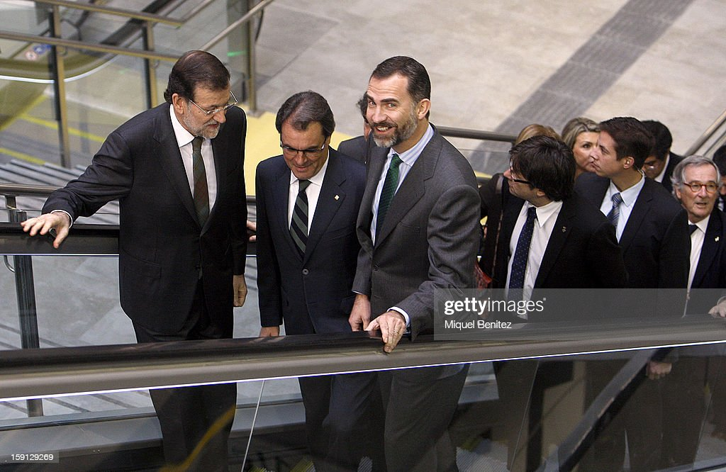 Prime Minister of Spain Mariano Rajoy, President of Catalunya Artur Mas and Prince Felipe of Spain attend a press presentation at Girona train station during the inauguration of the AVE high-speed train line between Barcelona and the French border on January 8, 2013 in Barcelona, Spain.