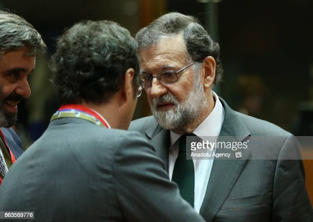 Prime Minister of Spain Mario Rajoy Brey attends the European Council Meeting at the Council of the European Union building on October 20 2017 in...